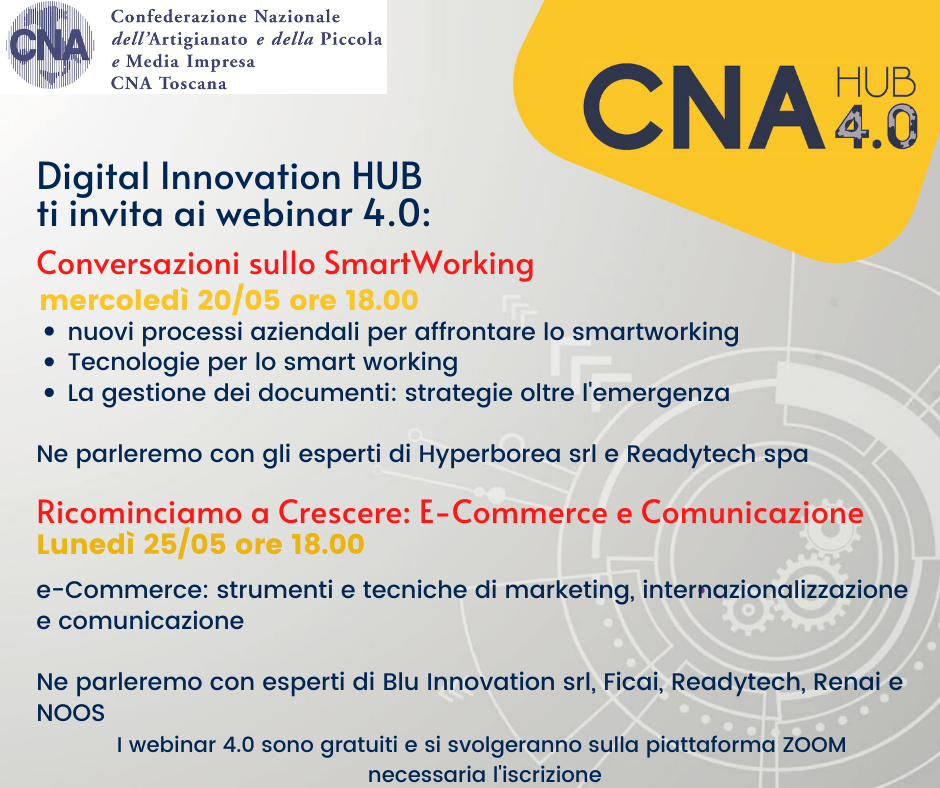 Webinar 4.0, al via il percorso online: 20 maggio Smart working, 25 maggio E-commerce e comunicazione