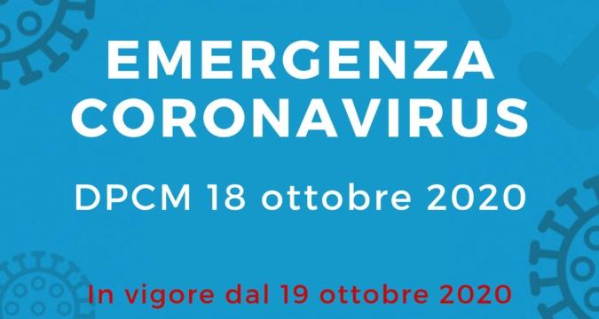 Le novità del DPCM 18 ottobre 2020
